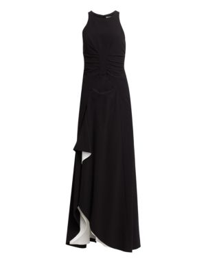 Ruched Crepe Sleeveless Draped Gown by Halston Heritage