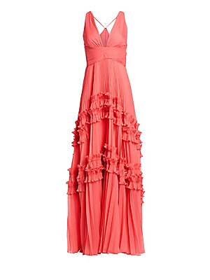 8acc4f08c15 Halston Heritage - Sleeveless Pleated Georgette Gown - saks.com