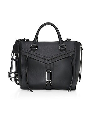 Image of Crafted in pebbled leather, this smart satchel features chevron detailing and long zip pulls. Dual top handles Top zip closure Two outside zip pockets Inside zip pocket Two inside credit card slots Lining: Canvas Leather Trim: Nylon Imported SIZE Removabl