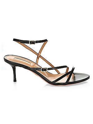 """Image of Alluring sandals with slender straps that elegantly traverse your feet. Leather upper Open toe Adjustable buckle straps Padded insole Leather lining and sole Made in Italy SIZE Lacquered heel, 2.5"""" (60mm). Women's Shoes - Aquazzura > Saks Fifth Avenue. Aq"""