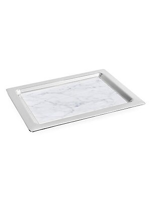 Image of From the Dual Collection. This Dual Tray unites honed Italian Carrara marble, and polished nickel-plated metal, to create a design which is perfectly modern, and highly functional. This design embodies the brand values of elevating nature through design.