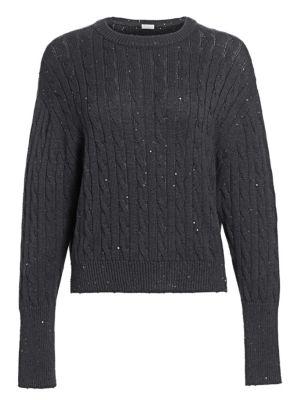 Brunello Cucinelli Knitwear Pailette Cashmere & Silk Cable Knit Sweater