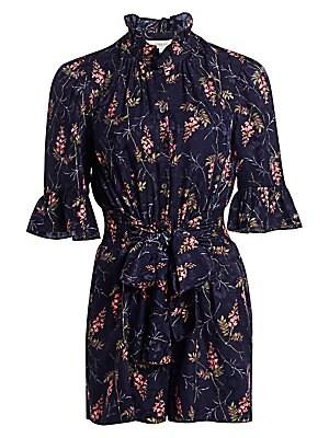 8121731673ee4 Rebecca Taylor - Ivie Floral Silk-Blend Romper - saks.com