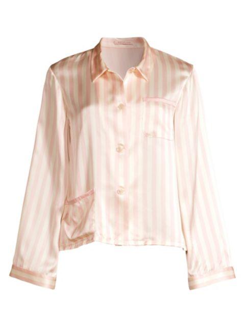 Morgan Lane Ruthie Silk Striped Pajama Top   SaksFifthAvenue