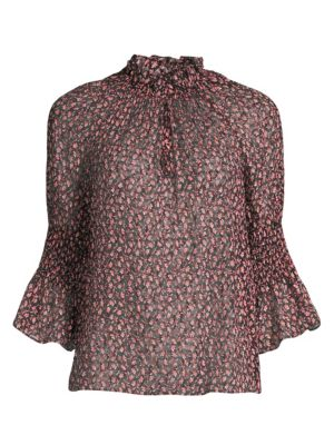Rebecca Taylor Tops Francesca Silk & Cotton Ruffle Blouse