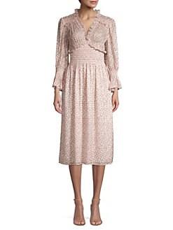 966ad87ac680 Rebecca Taylor. Francesca V-Neck Midi Dress