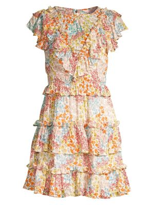 Rebecca Taylor Dresses Ava Silk & Cotton Ruffle Dress