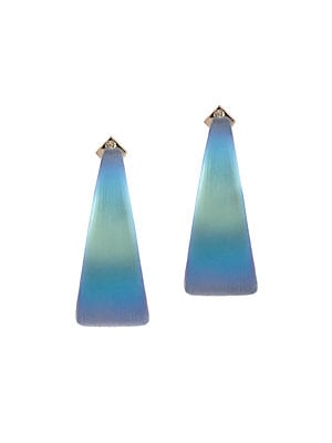 """Image of A luminous pop of color defines these post back wide graduated hoops. Lucite Post back Made in USA SIZE Length, about 2.6"""". Fashion Jewelry - Alexis Bittar. Alexis Bittar. Color: Blue."""
