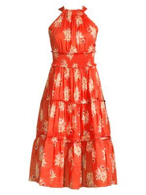 Rebecca Taylor Dresses Catrine Sleeveless Floral Tiered Midi Dress
