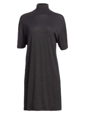 Brunello Cucinelli Cashmere Silk Lurex Turtleneck Dress