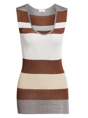 Brunello Cucinelli Striped Lurex Knit Tank Top