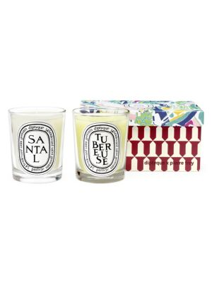 Diptyque Diptyque X Pierre Frey Two Piece Sandalwood Tuberose Scented Candle Set