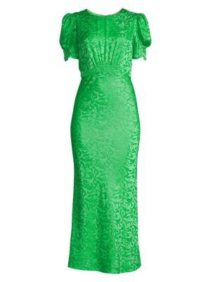Saloni Bianca Silk Jacquard Puff Sleeve Midi Sheath Dress
