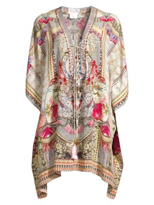 Camilla Short Lace Up Silk Caftan