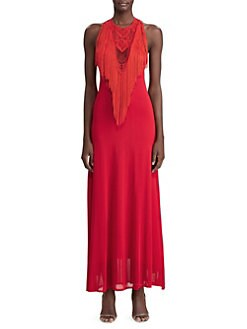 9491bd81c2f Ralph Lauren Collection. Sleeveless Fringe Embroidered Gown