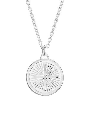 "Image of An engraved star adorns this medallion pendant to elevate this chain necklace. Sterling silver White sapphire Lobster clasp Made in UK SIZE Length, 16""-18"" Pendant width, 0.47"". Fashion Jewelry - Modern Jewelry Designers > Saks Fifth Avenue. Astley Clarke"
