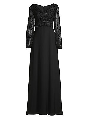 Beaded Bodice Gown by Basix Black Label
