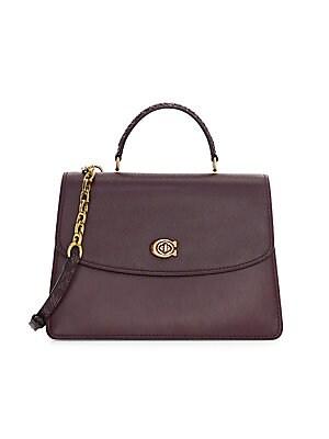 359656e7ddef COACH - Parker Leather Snakeskin Top Handle Shoulder Bag