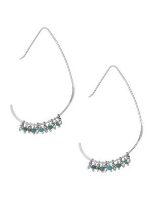 Chan Luu Sterling Silver Turquoise Angular Hoop Earrings