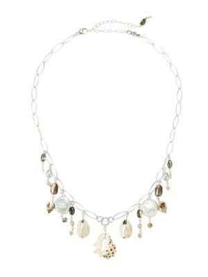 Chan Luu Sterling Silver 2 14mm Pearl Shell Charm Necklace