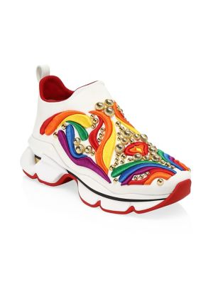 new style ff44d 51db3 Donna Space Sock Rainbow Embroidered Sneakers in White Multi