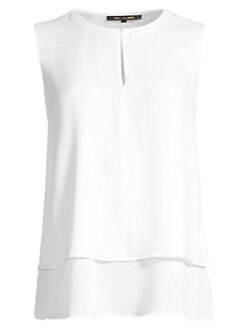 1cc0bb9beb623 Victoria Tiered Hem Silk Blouse WHITE. QUICK VIEW. Product image