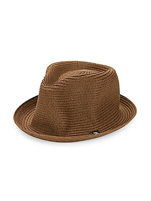 """Image of Classic woven fedora hat with turned brim. Straw Spot clean SIZE Brim, about 1"""". Men Accessories - Fashion Accessories > Saks Fifth Avenue. Block Headwear. Color: Brown."""