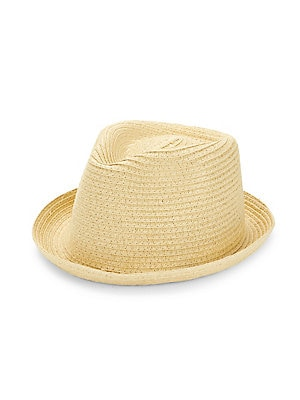 """Image of Classic woven fedora hat with turned brim. Straw Spot clean SIZE Brim, about 1"""". Men Accessories - Fashion Accessories > Saks Fifth Avenue. Block Headwear. Color: Natural."""