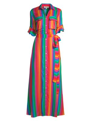 All Things Mochi Dresses Leilani Rainbow Stripe Maxi Shirtdress