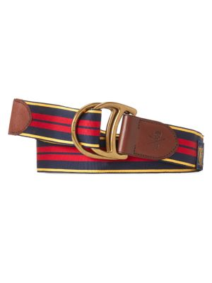 Polo Ralph Lauren D-Ring Striped & Leather Belt In Navy Blue Red