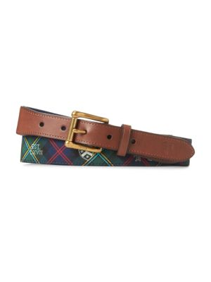 Polo Ralph Lauren Web Motif Tab Front Leather-Blend Belt In Green Navy Tartan