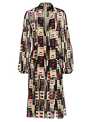 Image of A '70s-inspired blouson dress silhouette is highlighted with a mod colorful grid print - blending multiple vintage themes for a quirky modern look. Semi-sheer blouson sleeves and a self-tie scarf detail at the neckline add feminine flair to this eye-catch