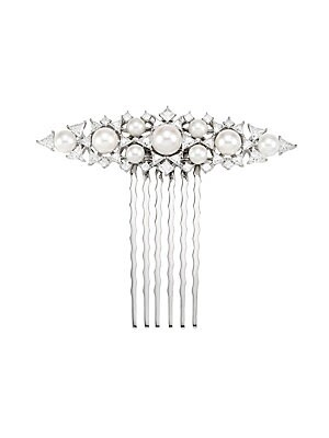 """Image of Dazzling cubic zirconia stones and an assortment of freshwater pearls of various sizes adds romantic flair to this lovely vintage-inspired comb. Freshwater pearls, 5mm-8.5mm Cubic zirconia Rhodium-plated sterling silver Imported SIZE 2.5""""W x 0.75""""L. Fashi"""