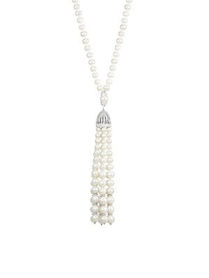 Image of Elegant necklace with luminous pearls culminates in a chic tassel with sparkling accents. ONLY AT SAKS Round white freshwater pearls, 5-5.5mm, 6-6.5mm, 7-7.5mm, 8-8.5mm Cubic zirconia accents Rhodium-plated sterling silver Box/tongue closure Imported SIZE