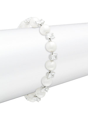 """Image of Elegant line bracelet features lustrous white pearls and square-cut cubic zirconias. ONLY AT SAKS Freshwater pearl, 8-8.5mm Cubic zirconia Rhodium-plated sterling silver Box and tongue clasp Imported SIZE Length, about 7.5"""". Fashion Jewelry - Adriana Orsi"""