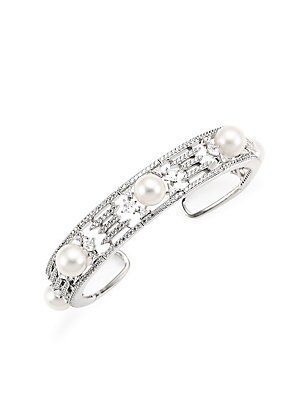 """Image of A trio of luminous white freshwater pearls are the focal point of this elegant cuff bracelet. ONLY AT SAKS Fresh water pearl, 8-8.5mm Cubic zirconia accents Rhodium-plated sterling silver Slip-on cuff styling Imported SIZE Diameter, about 2.25"""" Width, abo"""