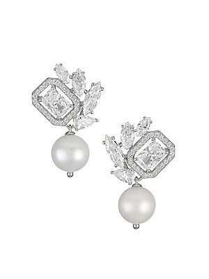 """Image of Artistically clustered cubic zirconia earrings anchored by dangling white pearls. ONLY AT SAKS Freshwater pearl, 8-8.5mm Cubic zirconia Rhodium-plated sterling silver Post back Imported SIZE Length, about 0.95"""" Width, about 0.625"""". Fashion Jewelry - Adria"""