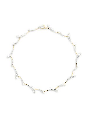 """Image of Delicate sprays of sparkling cubic zirconias encircle the neck. ONLY AT SAKS Cubic zirconias Rhodium and gold-plated sterling silver Snap-in clasp Imported SIZE Length, about 16"""". Fashion Jewelry - Adriana Orsini > Saks Fifth Avenue. Adriana Orsini. Color"""