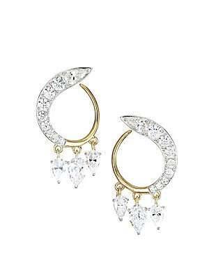 """Image of A trio of cubic zirconias dangle from sparkle-tipped hoops. ONLY AT SAKS Cubic zirconia Rhodium and gold-plated sterling silver Post back Imported SIZE Width, 0.65"""" Height, 0.95"""". Fashion Jewelry - Adriana Orsini > Saks Fifth Avenue. Adriana Orsini. Color"""