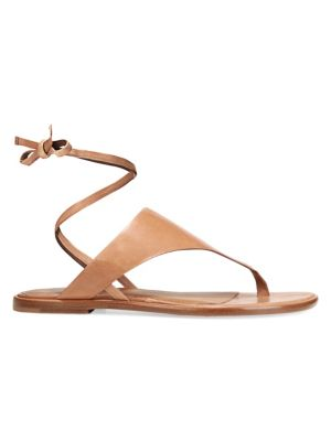 Vince Eastwood Leather Ankle Wrap Thong Sandals