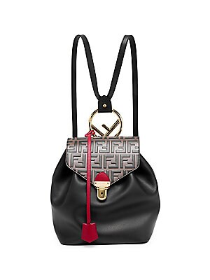 Bicolor Leather Backpack by Fendi