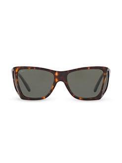 6a55f6eb298 Persol. Havana 57MM Squared Wrap Sunglasses