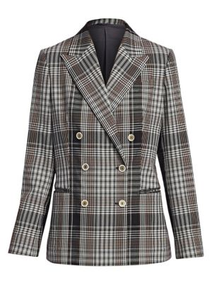 Brunello Cucinelli Plaid Double Breasted Jacket