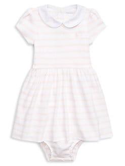7647d3fe4 Ralph Lauren. Baby Girl's Two-Piece Striped Cotton Interlock Dress &  Bloomers Set