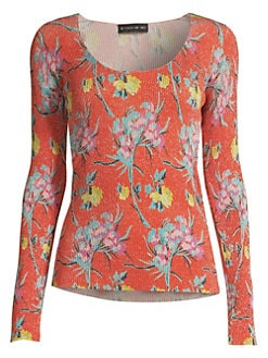 220b0215ae344 QUICK VIEW. Etro. Painted Floral Lurex Top.  1295.00. Pre-Order · Sketch  Floral Ruffle Blouse ORANGE