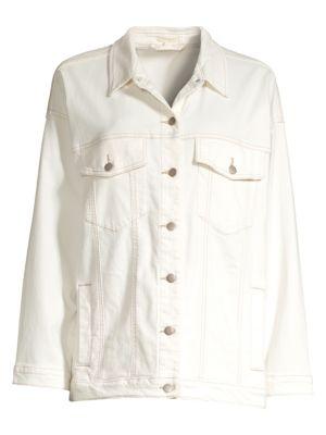 Eileen Fisher Undyed Organic Cotton Blend Oversized Trucker Jacket