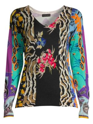Etro V Neck Patchwork Sweater