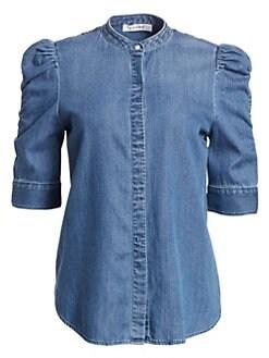78eb86685a Frame. Joanie Shirred Sleeve Chambray Shirt