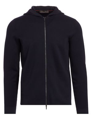 Loro Piana Wool Hooded Bomber In Navy