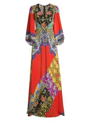 Etro Kimono Sleeve Patchwork Floral Dress